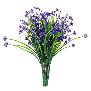 JAKY Global Babys Breath Gypsophila Artificial Flowers 4 Bundle Fake Daffodils Greenery Shrubs Plants Decor Wedding Party DIY Home Garden(Purple) 90