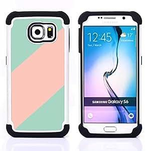 - teal pink line clean minimalist pattern/ H??brido 3in1 Deluxe Impreso duro Soft Alto Impacto caja de la armadura Defender - SHIMIN CAO - For Samsung Galaxy S6 G9200