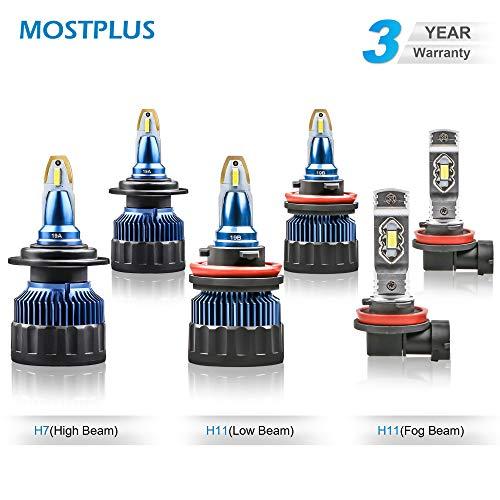 MOSTPLUS 7800LM 60W/Pair-All-in-One 6000K Led H7+H11+H11 bulb-TX1860 Chip High Focus Mini Conversion Kit Three Years Warranty (3 Pairs)