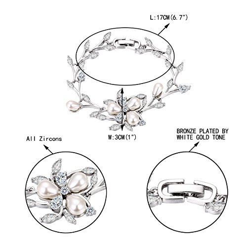 EVER FAITH Marquise CZ Simulated Pearl Bridal Flower Leaf Filigree Necklace Earrings Bracelet Set 6