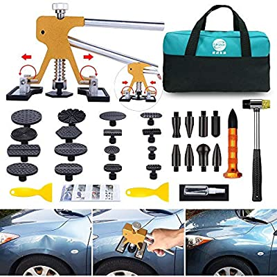 GLISTON Paintless Dent Puller – Golden Dent Puller Kit, 35pcs Dent Remover Tools with Adjustable Width Dent Repair Tools for Car, DIY Auto Body Dent Repair: Automotive