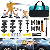 GLISTON Paintless Dent Puller - Golden Dent Puller Kit, 35pcs Dent Remover Tools with Adjustable Width Dent Repair Tools for Car, DIY Auto Body Dent Repair