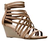 OLIVIA K Women's Strappy Woven Wedge Sandals - Sexy Open Toe Heel - Comfort, Fasionable, Casual Style