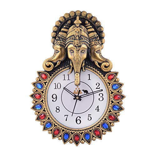 MANN KI CHOICE Stylish Stone Ganesha Designed Wall Clock with Beautiful Art Work with Wooden Touch | Plastic Wall Clock | Classic Design for Home,Living Room,Bedroom,Kitchen,Office; Copper