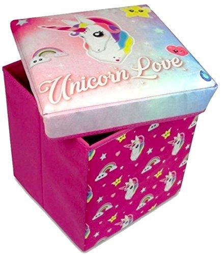 Scatola con unicorno rosa per bambine, per riporre giocattoli e utilizzabile come sgabello per sedersi, imbottita, per camera da letto Hunter price