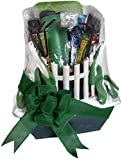 Superior Gift Basket Co. Quality Gardening Tool Set Gift Gloves Kneeling Pad Planter Transplanter Trowel Weeder Cultivator,Wooden With Padded Comfort Grip Handles, Plus Rice Crispy Treat Granola Bars