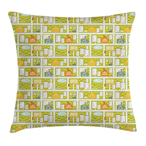 Queolszi Children's City Map Throw Pillow Cushion Cover, Summertime in The City with School Museum and Market Blooming Trees, Decorative Square Accent Pillow Case, 18 X 18 inches, Multicolor ()