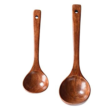 Bestonzon 2pcs Natural Wooden Spoon Large Wood Soup Ladle Kitchen