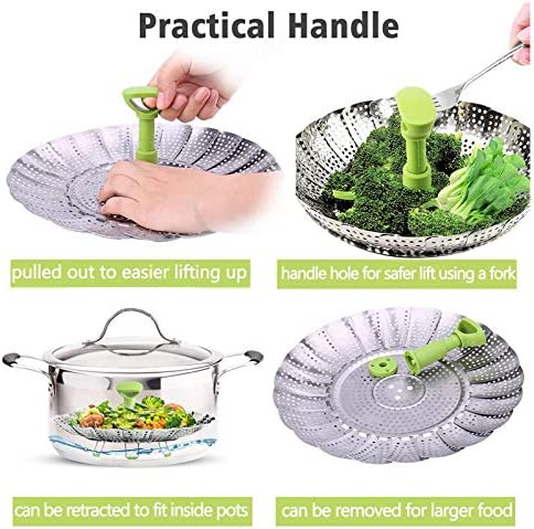 """51IdgMsnTyL. AC BESORICH Vegetable Steamer Basket, Stainless Steel Folding Steamer with Extending Removable Center Handle Insert for Veggie Seafood Cooking to Fit Various Size Pot (5.1"""" to 9""""),    Steamer baskets is a healthy cooking choice because it helps retain more than 90% of the nutrients lost when either boiling or microwaving food. You don't have to be an accomplished cook to create quick, healthy and nutrient-dense cuisine that tastes great.  With this versatile kitchen tool, cooking is fast, easy and less messy."""