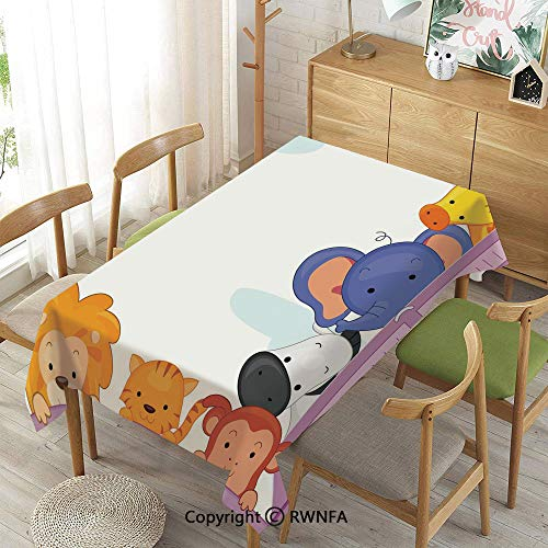 Homenon Decorative Rectangular Table Cloth,Zoo,Indoor Outdoor Camping Picnic,Multicolor,55
