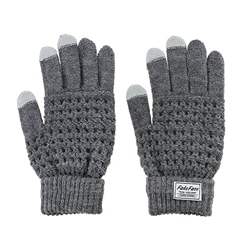 Fakeface Knitted Wool Touch Screen Texting Gloves for All Touchscreen Electronic Devices for Women/Ladies/Girls; Great Gift for Christmas/Birthday/New Year (Grey) (Random Holidays For Everyday Of The Year)
