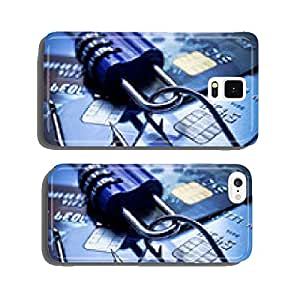 security lock with password and fish hooks on credit cards cell phone cover case Samsung S6