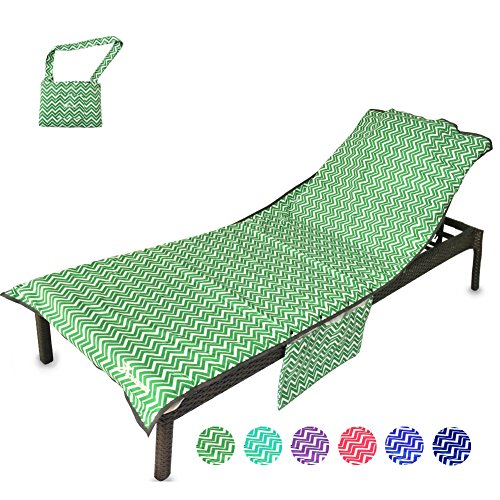 YOULERBU Beach Chair Cover with Pillow Breathable Sponge Thickened Pool Lounge Chair Towel Beach Towel with Side Pockets Green Stripe by YOULERBU