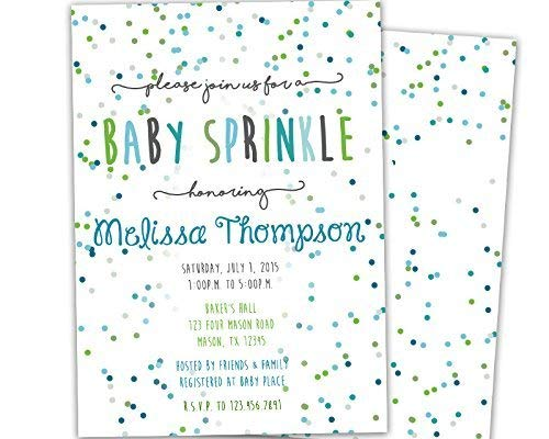 Boy Baby Sprinkle Invitations Blue Green Baby Shower -
