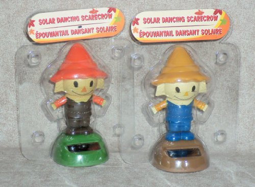 Solar Powered Dancing SCARECROW (2 PACK) ~ (Brown Outfit / Blue -