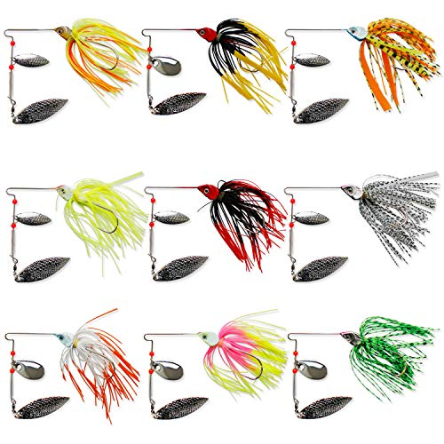 NetAngler Fishing Lures Spinnerbaits,Hard Metal Spinner Baits Buzzbait Kit 9pcs for Shad Pike Trout Bass Colorado/Willow Blade