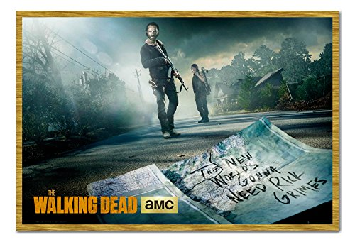 The Walking Dead Rick And Daryl Poster Oak Framed cms Approx