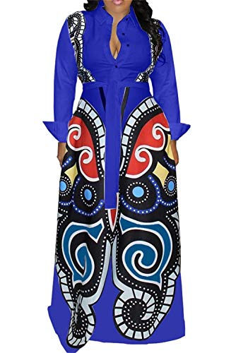LROSEY Women's Casual Button Down Long Sleeve Maxi Dress Deep V Neck African Floral Elegant A Line Long Dresses with Belt, D-Blue, X-Large