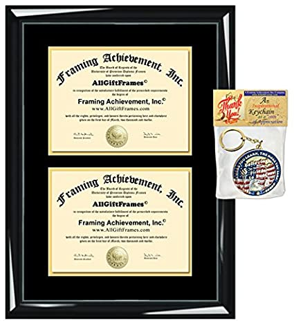 Amazon.com: Double-matted Double Diploma Frame - Premium Wood Glossy ...