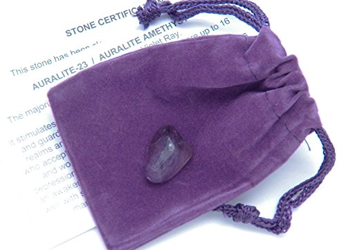 Fundamental Rockhound Products: Auralite 23 tumbled stone gemstone crystal with carrying pouch, info card, stone certification (Small) (Glass Purple Depression)