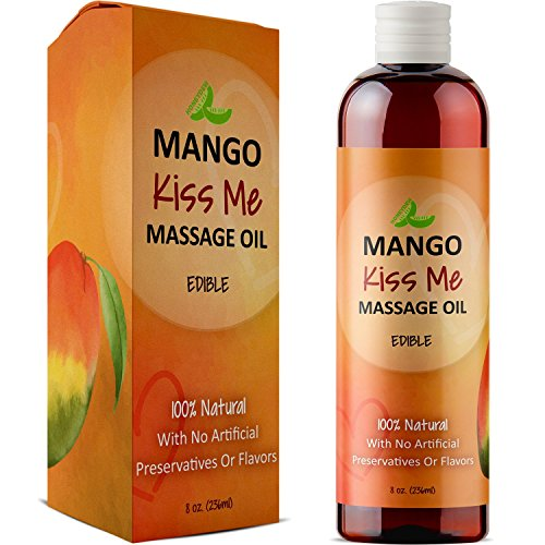 Healing Massage Therapy Oil for Men & Women - Relaxing Therapeutic Edible Mango Body Oil for Healthy Hydrated Skin - Anti-Aging Natural Oils Jojoba Sweet Almond & Coconut Oil for Skin & Muscle Relief (Edible Massage Oils For Sex)