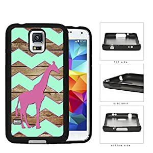 Dark Pink Color Giraffe on Mint Chevron and Brown Wood Pattern Samsung Galaxy S5 SM-G900 Rubber Silicone TPU Cell Phone Case