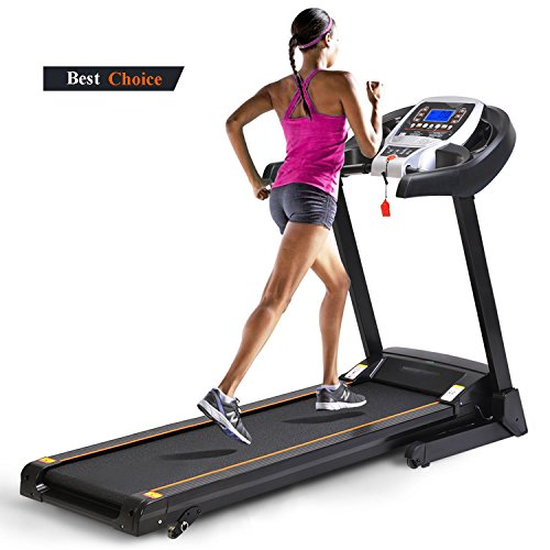 Kemanner 2.25 HP Folding Treadmill, Electric Fitness Running Machine Led Display Cardio Fitness Training (US STOCK) (Black)