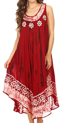 Sakkas 15009 - Alexis Embroidered Long Sleeveless Floral Caftan Dress/Cover up - Red - OS