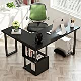 Tribesigns Modern L-Shaped Desk, 360° Free Rotating Corner Computer Desk 55'' Study Writing Table with Storage Shelves for Home Office (Black)