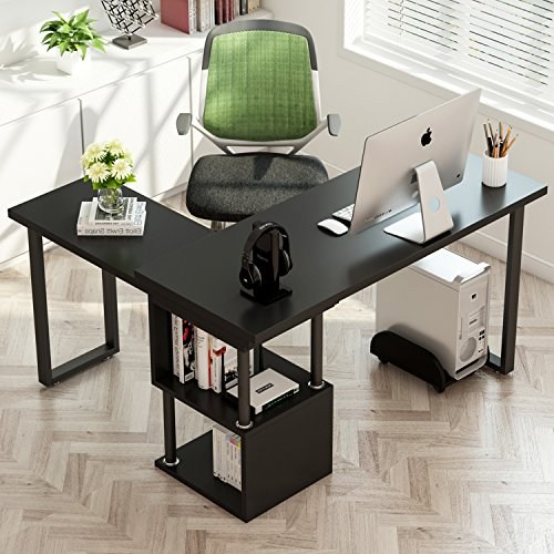 Tribesigns Modern L-Shaped Desk, 360 Free Rotating Corner Computer Desk 55 Study Writing Table with Storage Shelves for Home Office Black