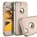 iPhone 6s Case,iPhone 6 Case,Power J Three Layer Heavy Duty Shockproof High Impact Resistant Hybrid Protective Case for iPhone 6s/6 4.7'', (Gold Oliver Green)