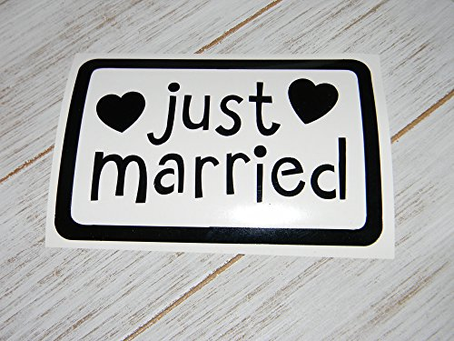 (Just married Wedding,Wedding Day Vinyl Decal Sticker-Design #1 -Pick Size-Pick Color-for Car Windows, laptops etc..)