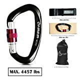 Locking Climbing Carabiner-10ft hammock Strap Attached As Free Gift, Screw-Gate D-Ring Clips, 7075 Aluminium Hooks, Super Light and Rust Free, D Shaped 3.94in, Black.