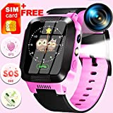 [SIM Card Include]Kids Smartwatch Best GPS Tracker 3-12 Year Boy Girl Child Phone Watch with Digital...