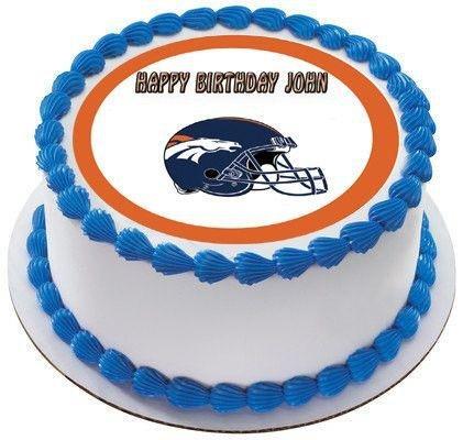 Denver Broncos Edible Birthday Cake OR Cupcake Topper - 6