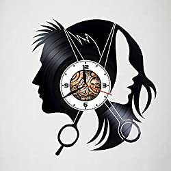 Hairdresser - Scissors - Handmade Vinyl Clock, Wall Decor, Home Art Decoration, Modern Art, Gift Idea For Man And Woman, Vintage Vinyl Record, Home Décor - Movie Character - Unique Art Design