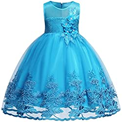 Blevonh 6 Dresses for Girls Special Occasion Princess Party Toddler Birthday Dress Sleeveless Chiffon Girl Dress Kids Lace 3D Flower Wedding Party Dresses Size (120) 5-6 Years Aqua Blue Dresses