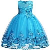 Blevonh Girl Sleeveless Wedding Party 3D Embroidered Flower Dresses for Kids