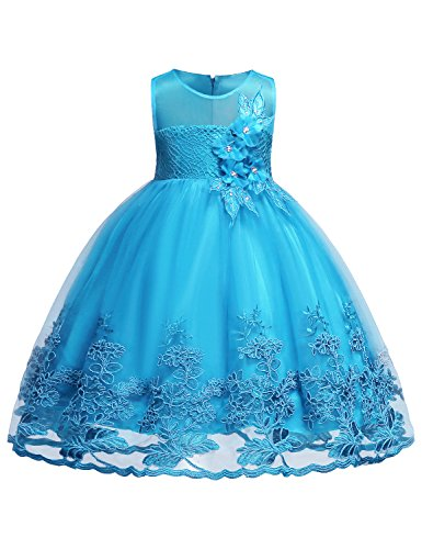 Blevonh Big Girls Dresses Sleeveless Chiffon Girl Dress Kids Lace 3D Flower Vintage Floral High Waist Wiggle Dresses for Church Party Size (100) 2-3 Years Aqua Blue Dresses