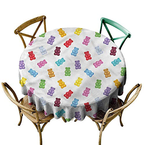 (LsWOW 36 Inch Striped Round Tablecloth Kids Vibrant Sweet Gummy Bears Great for Holiday & More )