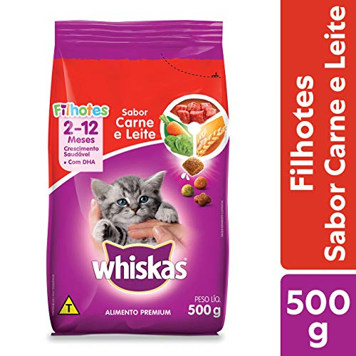 Ração Whiskas Carne e Leite Para Gatos Filhotes 500 g Whiskas para Todas Todos os tamanhos de raça Filhotes - Sabor Carne