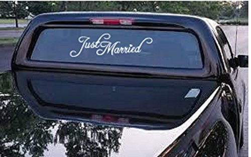 (Just Married Car Truck Decal - Automobile Window Decal 12.5