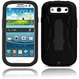 Galaxy S3 Case, MagicMobile [Heavy Duty] Hybrid Ultra Protective Case for Samsung Galaxy S3 Shockproof Dual Armor Impact Cover Soft Rubber Silicone with Hard Plastic [Kickstand] [Black -Black]