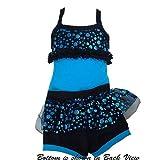 Lexi Luu Black Teal Metallic Bustle Booty Dance Outfit Little Girls 2T-14