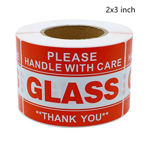 Hybsk 2x3 inch Handle with Care Thank You Glass Stickers Adhesive Label 300 Per Roll (2x3 inch)