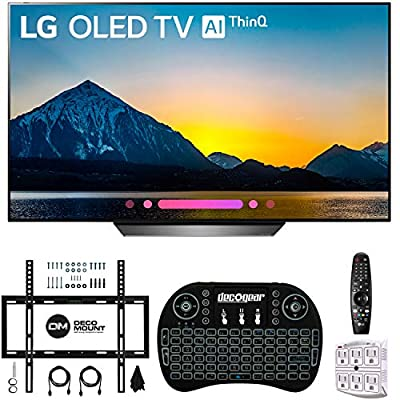 "LG B8PUA 65"" B8 OLED 4K HDR AI Smart TV with 2.4GHz Wireless Backlit Keyboard, Wall Mount Kit Ultimate Bundle and 750 Joule Surge Protector"