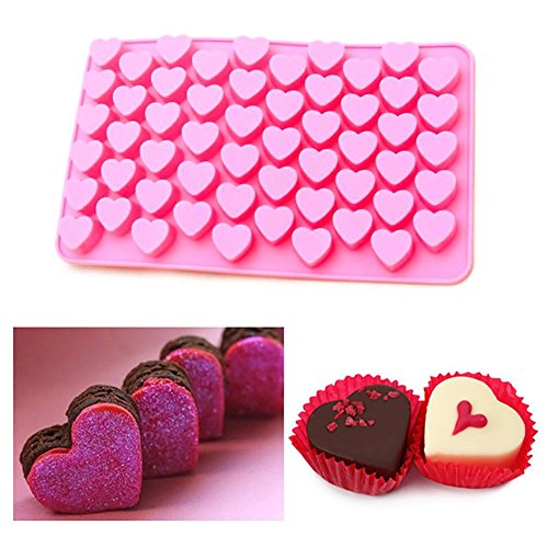 dzt1968  55 Cavity Mini Heart Shaped Silicone Chocolate Candy Cruffle Ice Cube Trays Baking Dish (A)