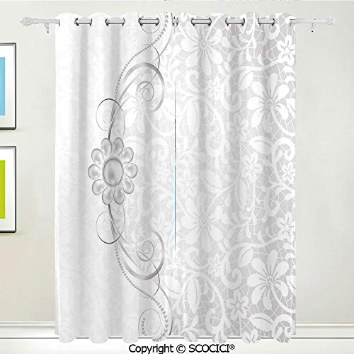 SCOCICI Unique Blackout Curtains Soft Lace Inspired Flourish Motifs Background with Bridal Flower Border Wedding Theme Thermal Insulated Living Room Bedroom Curtain Energy Efficient