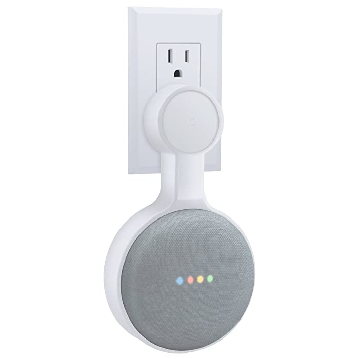 Outlet Wall Mount Holder for Google Home Mini, A Space-Saving Accessories for Google Home Mini Voice Assistant (White)