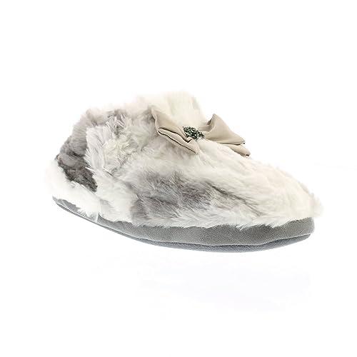 Pretty You London - Zapatillas de estar por casa de Material Sintético para mujer blanco blanco y gris: Amazon.es: Zapatos y complementos